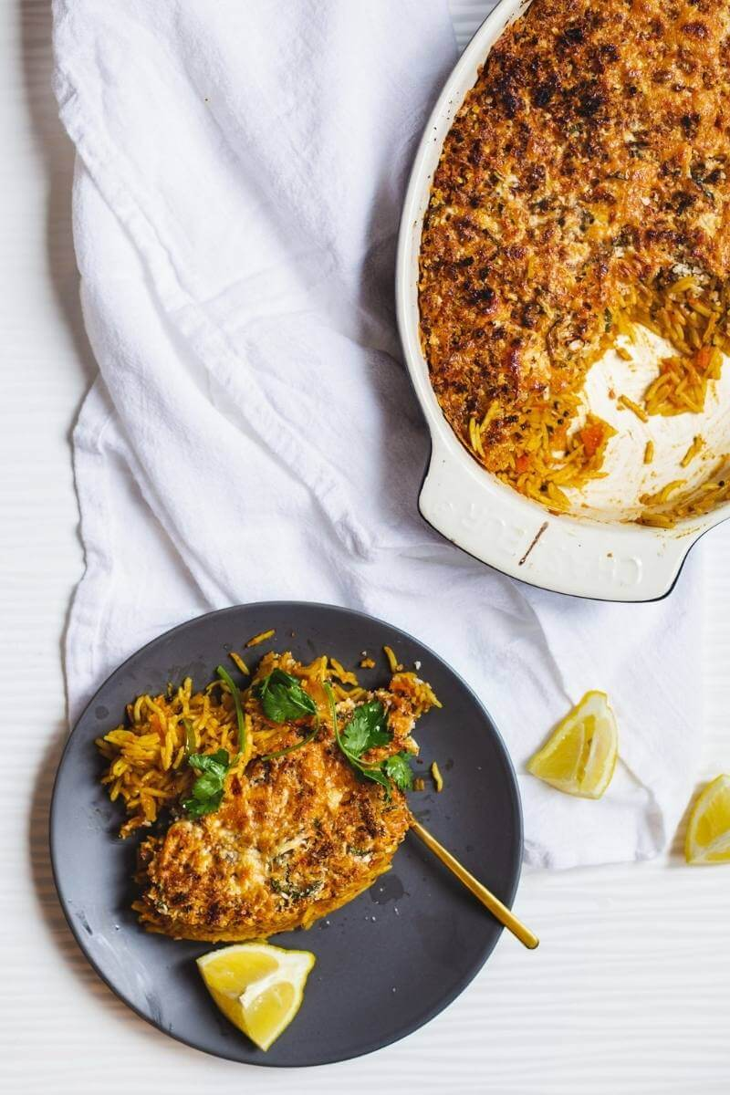 Baked turmeric, tomato & chicken risotto